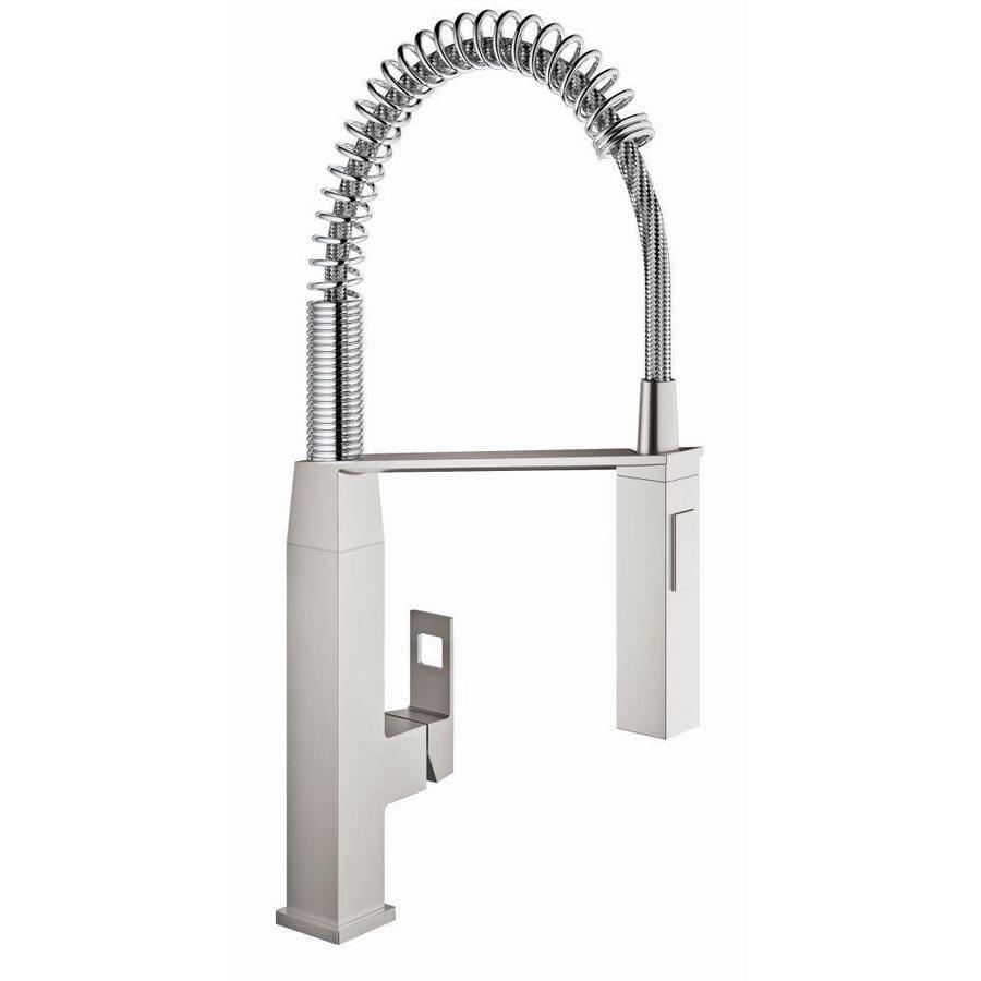 GROHE Eurocube Super Steel 1-Handle High-Arc Kitchen Faucet