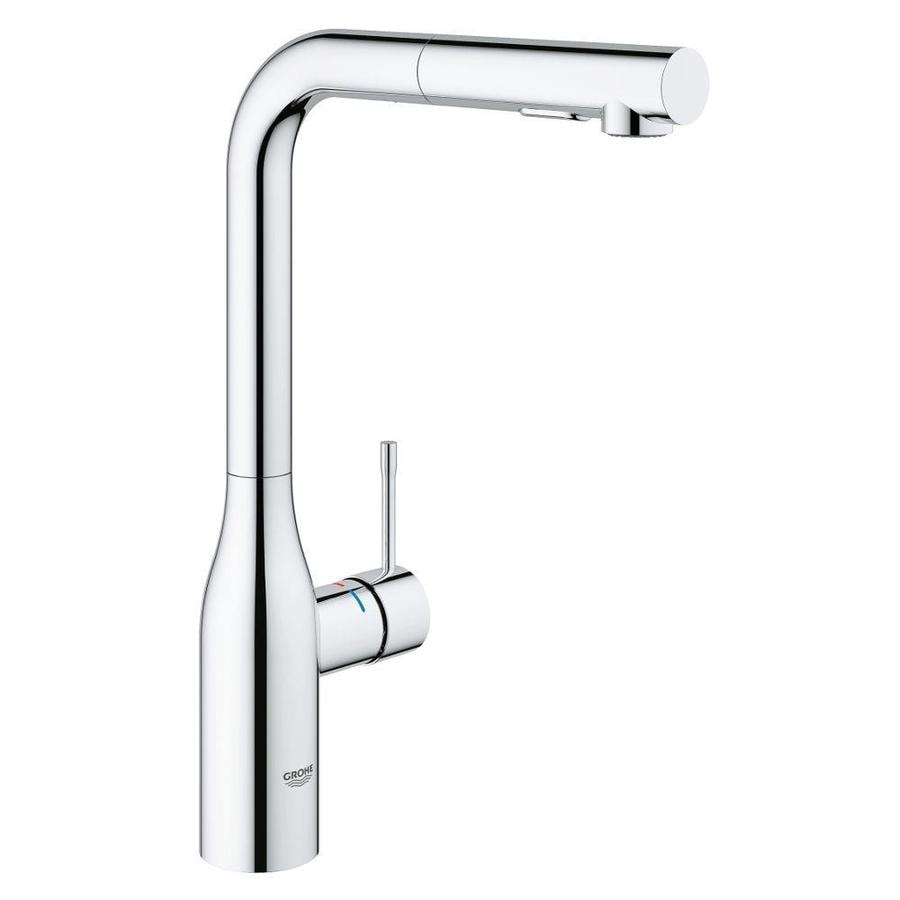 Grohe essence super steel 1 handle deck mount pull out kitchen faucet