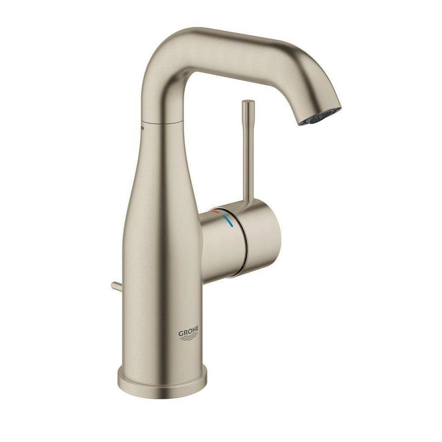 GROHE Essence Brushed Nickel 1-Handle Single Hole WaterSense Bathroom Faucet (Drain Included)
