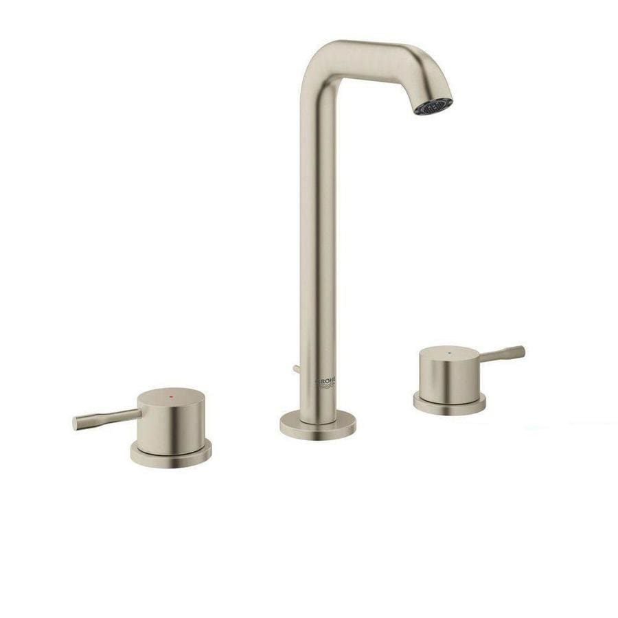 GROHE Essence Brushed Nickel 2-Handle Widespread WaterSense Bathroom Faucet (Drain Included)
