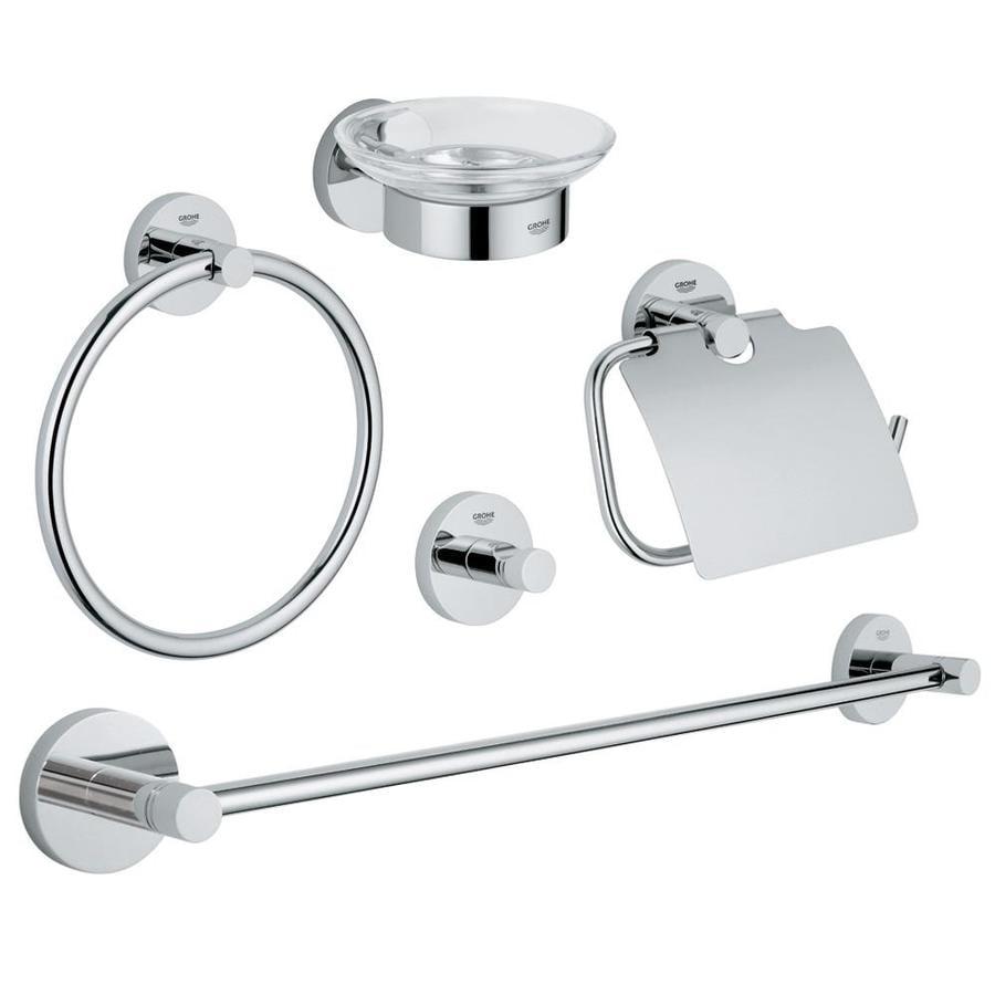 GROHE Essentials Chrome Brass Bathroom Coordinate Set