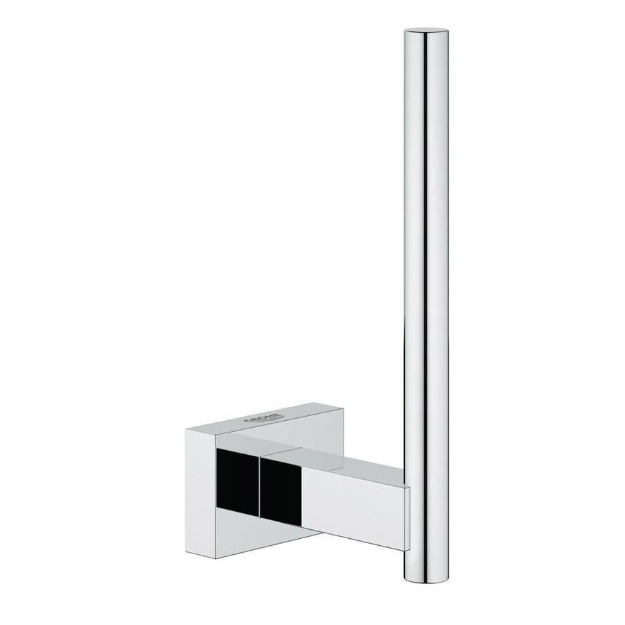 GROHE Essentials Cube Chrome Surface Mount Single Post Toilet Paper Holder
