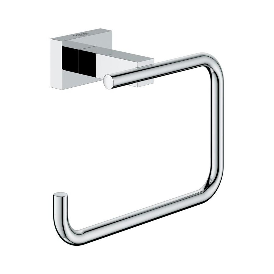 GROHE Essentials Cube Chrome Surface Mount Single Post with Arm Toilet Paper Holder