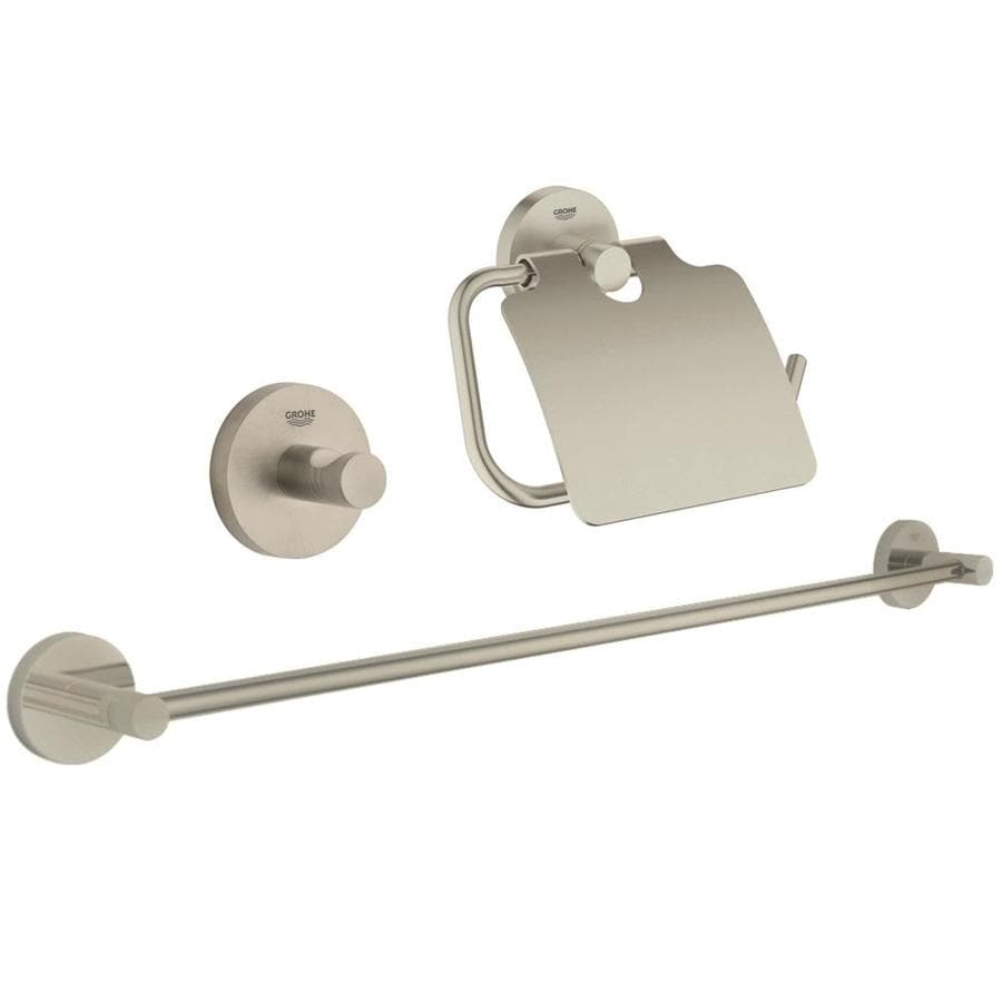 GROHE 3-Piece Essentials Brushed Nickel Decorative Bathroom Hardware Set