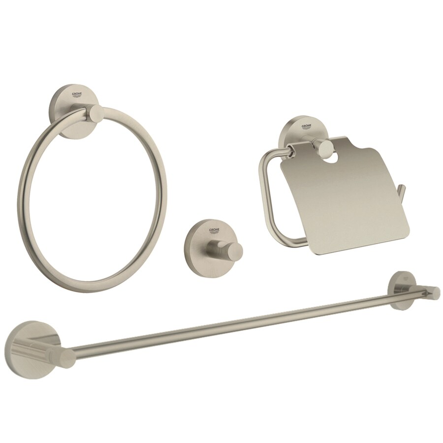 GROHE Essentials Brushed Nickel Brass Bathroom Coordinate Set