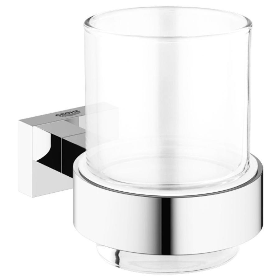 GROHE Essentials Cube Chrome Glass Tumbler