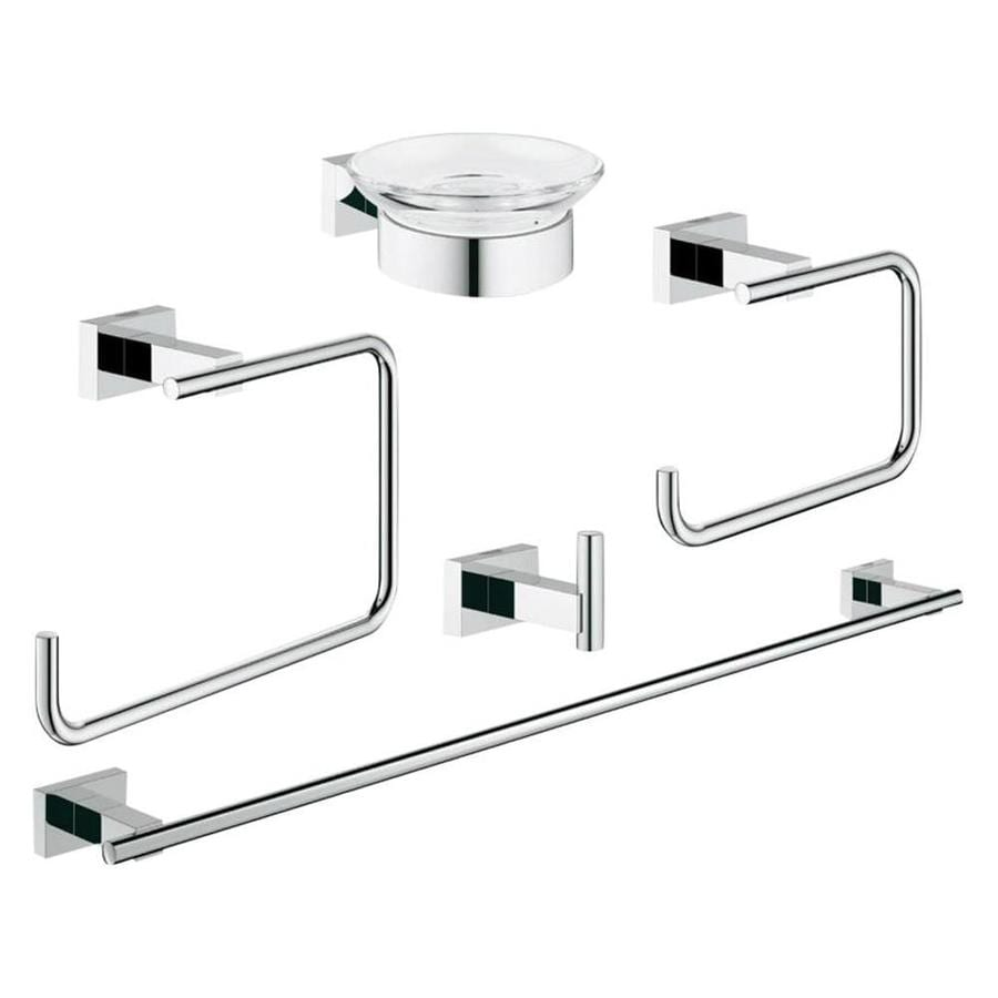 Shop grohe 5 piece essentials cube chrome decorative for Bathroom 5 piece set