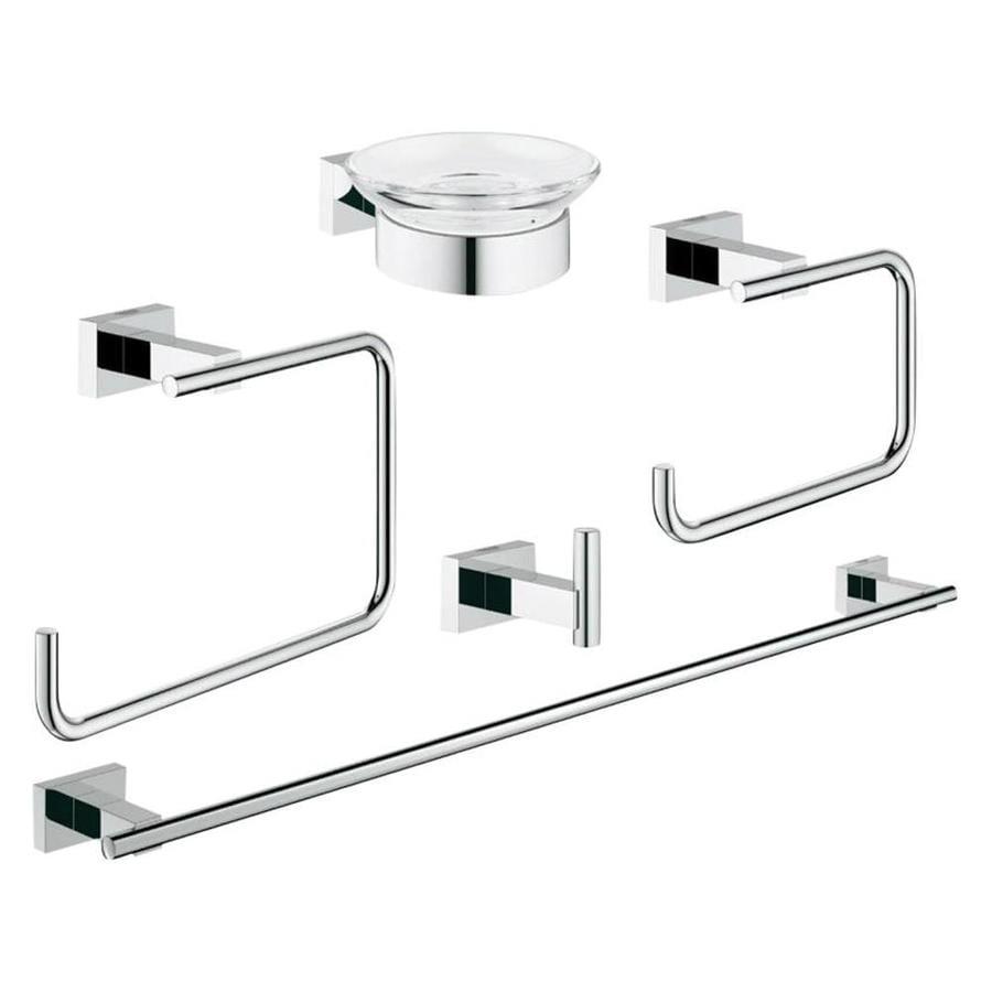 GROHE Essentials Cube Chrome Brass Bathroom Coordinate Set