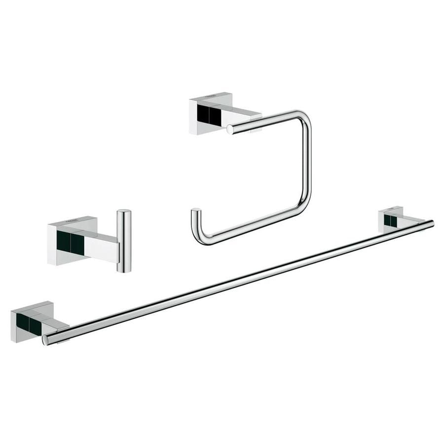 GROHE 3-Piece Essentials Cube Chrome Decorative Bathroom Hardware Set
