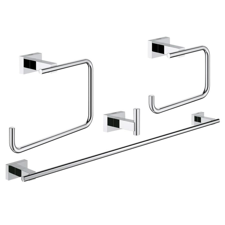 GROHE 4-Piece Essentials Cube Chrome Decorative Bathroom Hardware Set