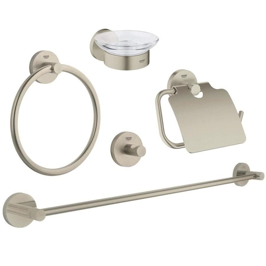 Shop Grohe 5 Piece Essentials Brushed Nickel Decorative Bathroom Hardware Set At
