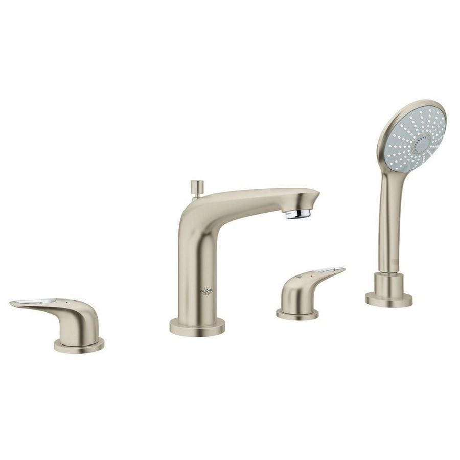 Shop Grohe Eurostyle Brushed Nickel 2 Handle Deck Mount Bathtub Faucet At