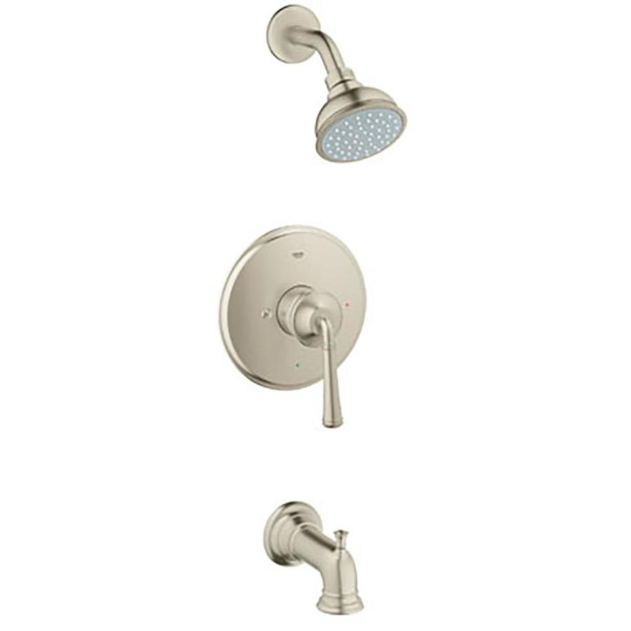 grohe gloucester brushed nickel 1handle watersense bathtub and shower faucet trim with single function
