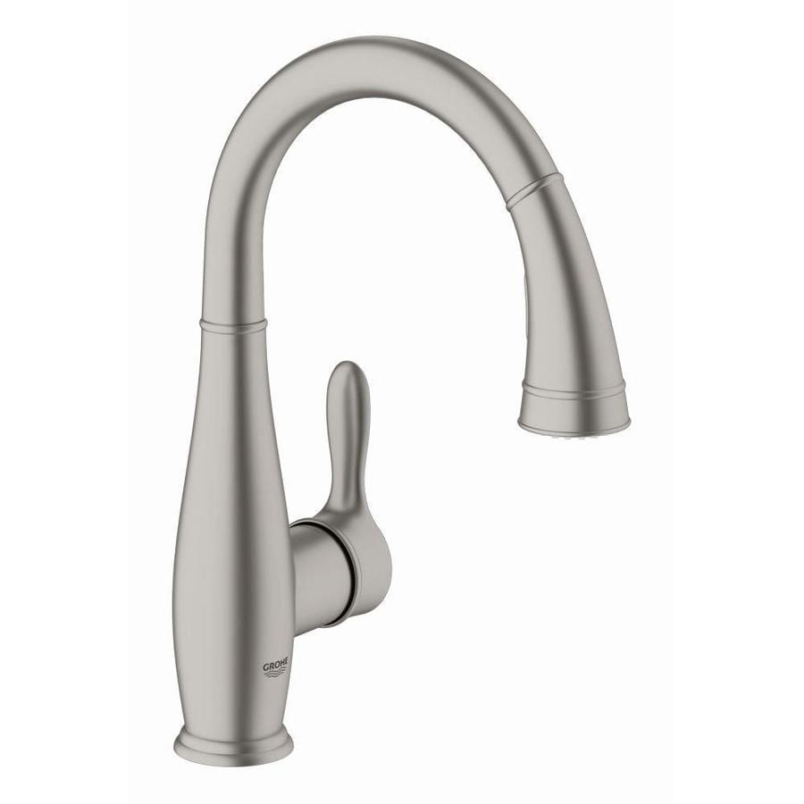 GROHE Parkfield Super Steel 1-Handle Deck Mount Pull-Down Bar and Prep Faucet