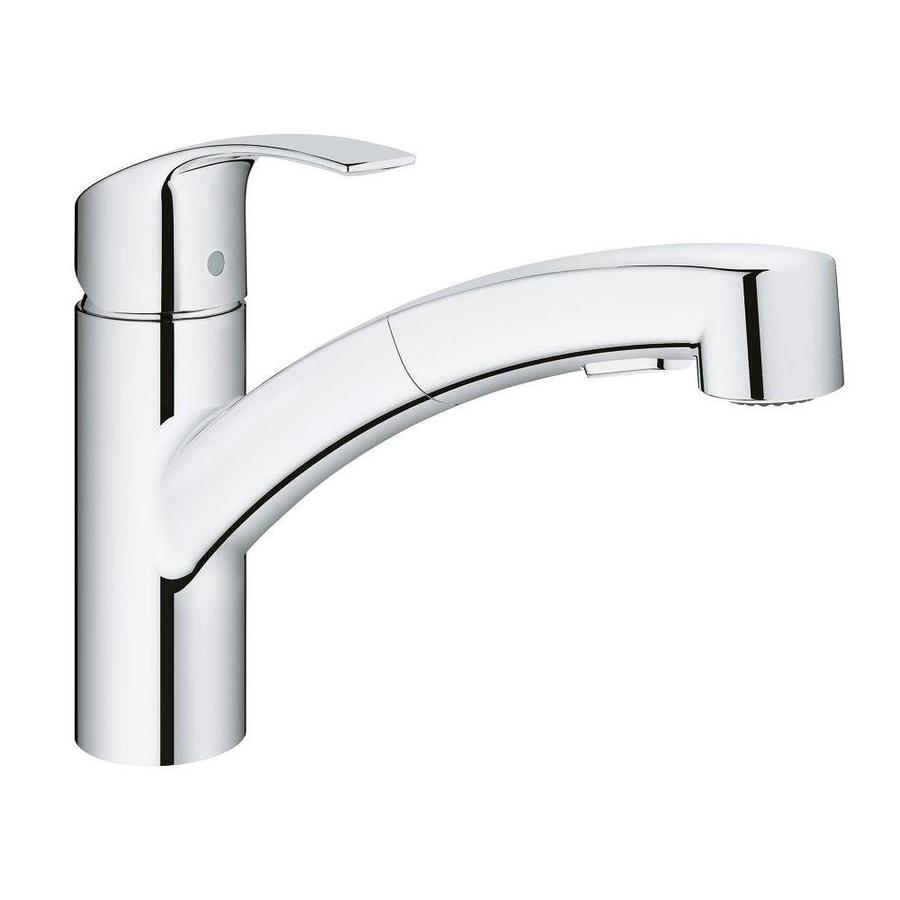 Grohe Eurosmart Chrome 1 Handle Deck Mount Pull Out Handle Kitchen Faucet In The Kitchen Faucets Department At Lowes Com