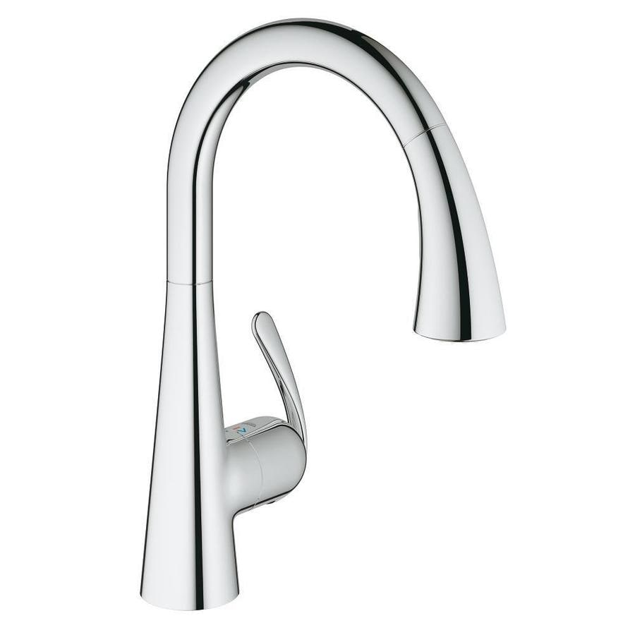 Grohe Ladylux Chrome 1 Handle Deck Mount Pull Down Touchless Residential Kitchen Faucet In The Kitchen Faucets Department At Lowes Com