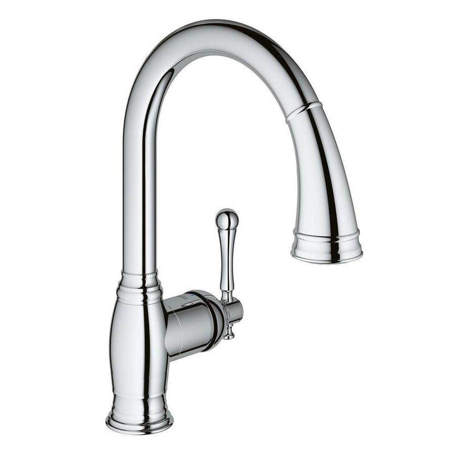 Grohe Bridgeford Chrome 1 Handle Deck Mount Pull Out Handle Kitchen Faucet In The Kitchen Faucets Department At Lowes Com