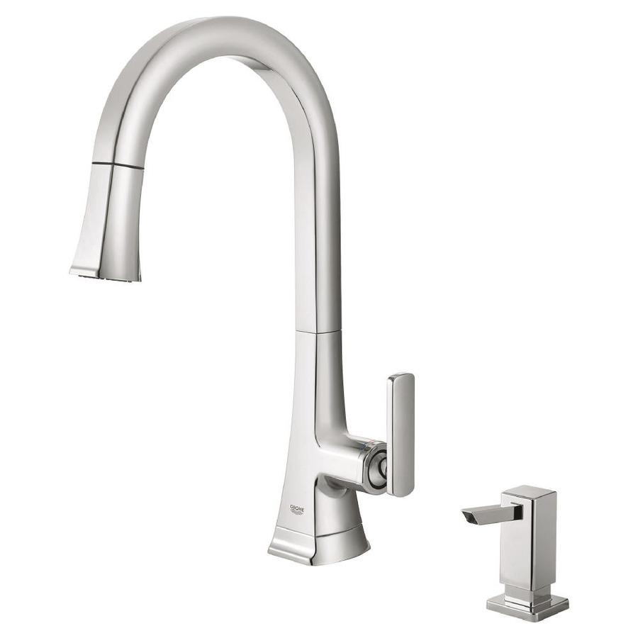 Grohe carre chrome 1 handle pull down kitchen faucet