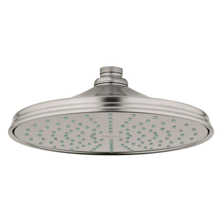 GROHE Rainshower 8-in 2.5-GPM (9.5-LPM) Brushed Nickel 1-Spray Rain Showerhead