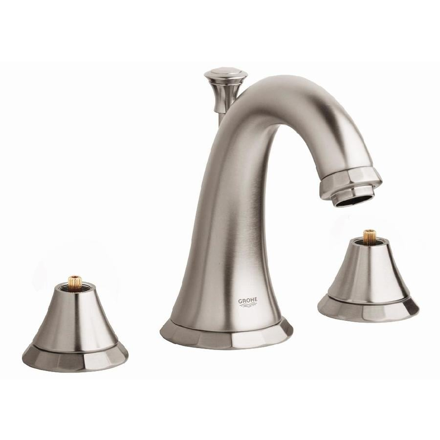 GROHE Kensington Brushed Nickel 2-Handle Widespread WaterSense Bathroom Faucet (Drain Included)