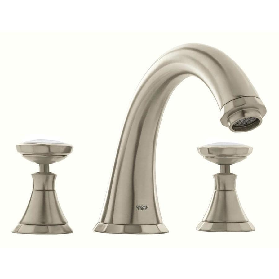 Shop GROHE Kensington Brushed Nickel 2-Handle Adjustable Deck Mount ...