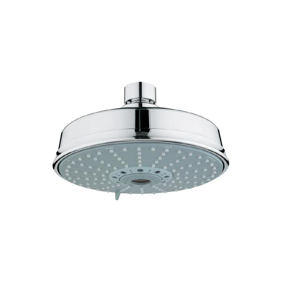 GROHE Rainshower 6.25-in 2.5-GPM (9.5-LPM) Starlight Chrome 4-Spray Rain Showerhead