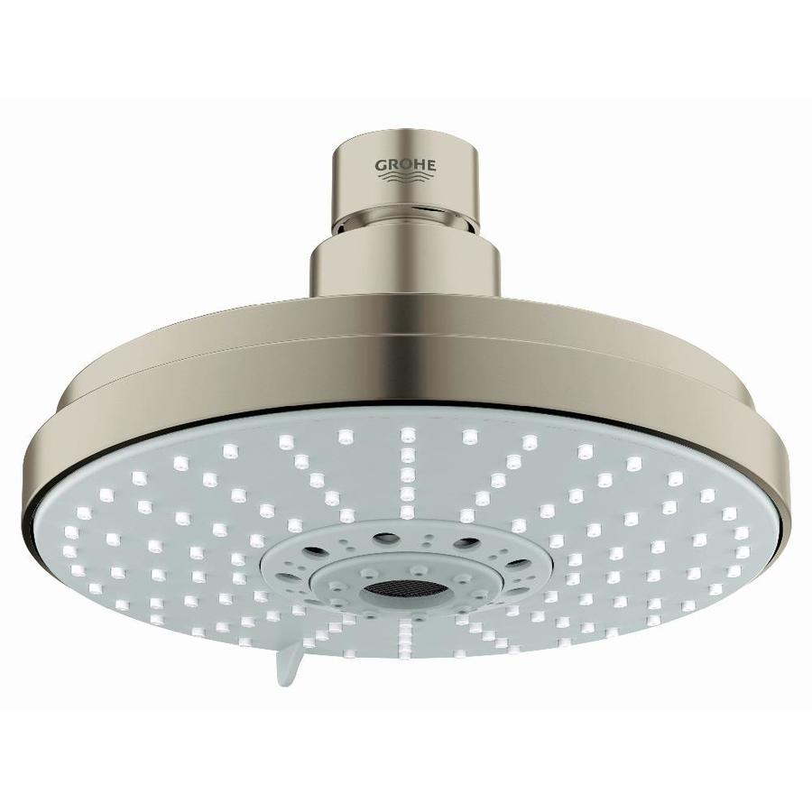 GROHE Rainshower 6.25-in 2.5-GPM (9.5-LPM) Brushed Nickel 4-Spray Rain Showerhead