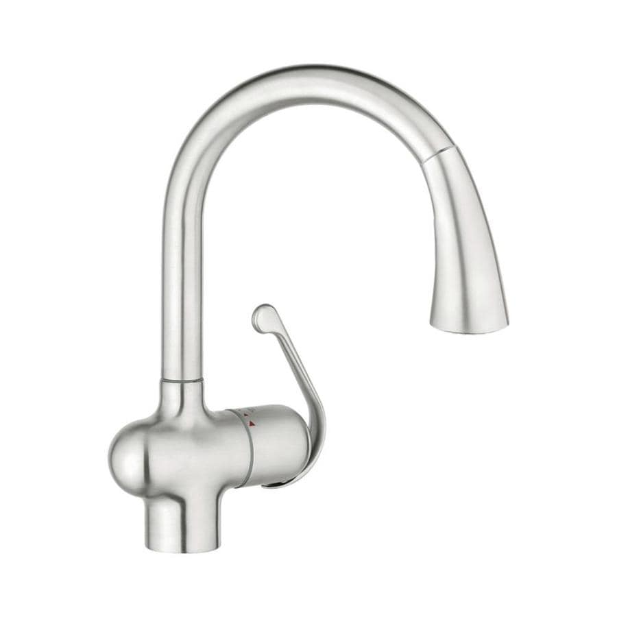 shop grohe ladylux realsteel 1 handle pull down kitchen