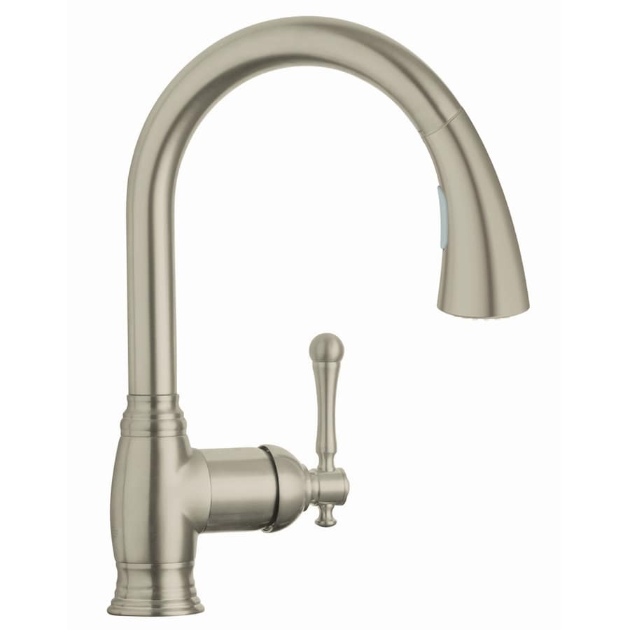 brushed nickel kitchen faucet tall kitchen grohe bridgeford brushed nickel pulldown kitchen faucet at lowescom