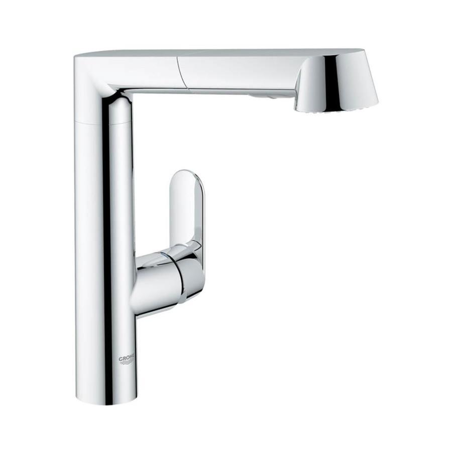 GROHE K7 Starlight Chrome 1-Handle Deck Mount Pull-Out Kitchen Faucet