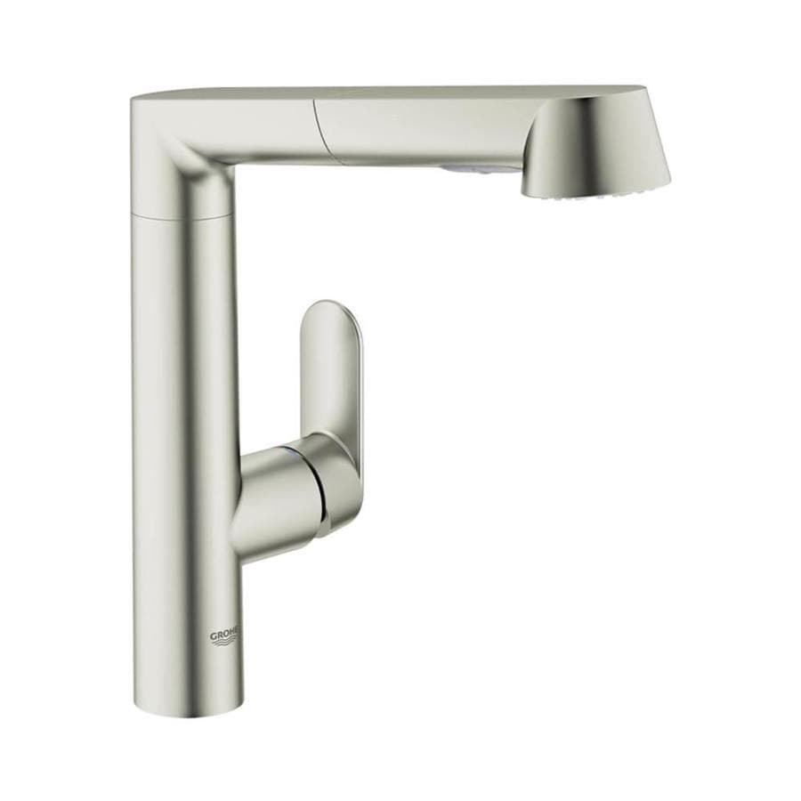shop grohe k7 supersteel 1 handle pull out kitchen faucet at lowes com