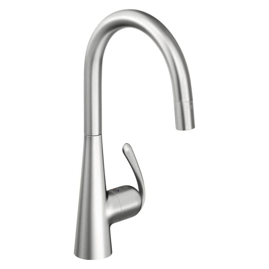 GROHE Ladylux Stainless Steel 1-Handle Deck Mount Pull-Down Kitchen Faucet