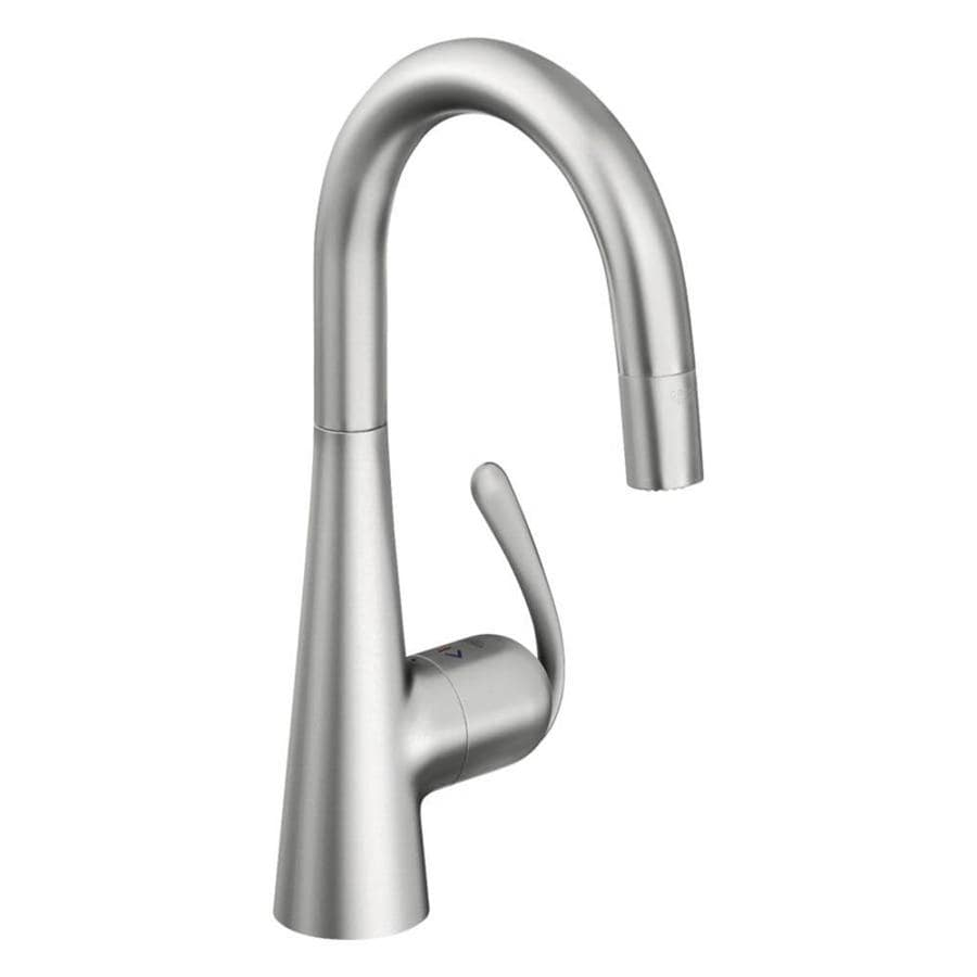 GROHE Ladylux Stainless Steel 1-handle Pull-down Deck Mount Kitchen Faucet