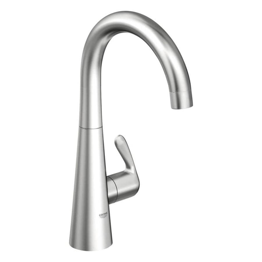 GROHE Ladylux Stainless Steel 1-Handle Deck Mount High-Arc Kitchen Faucet