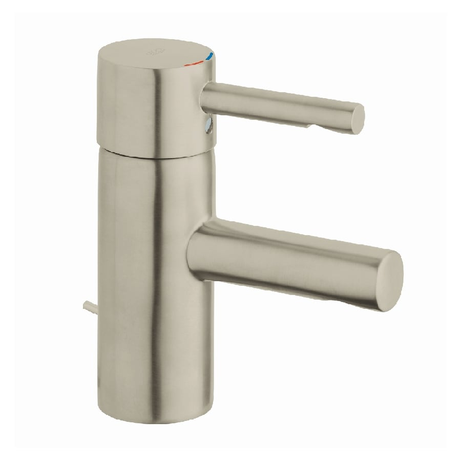 Grohe faucet bathroom - Grohe Essence Brushed Nickel 1 Handle Single Hole Watersense Bathroom Faucet Drain Included