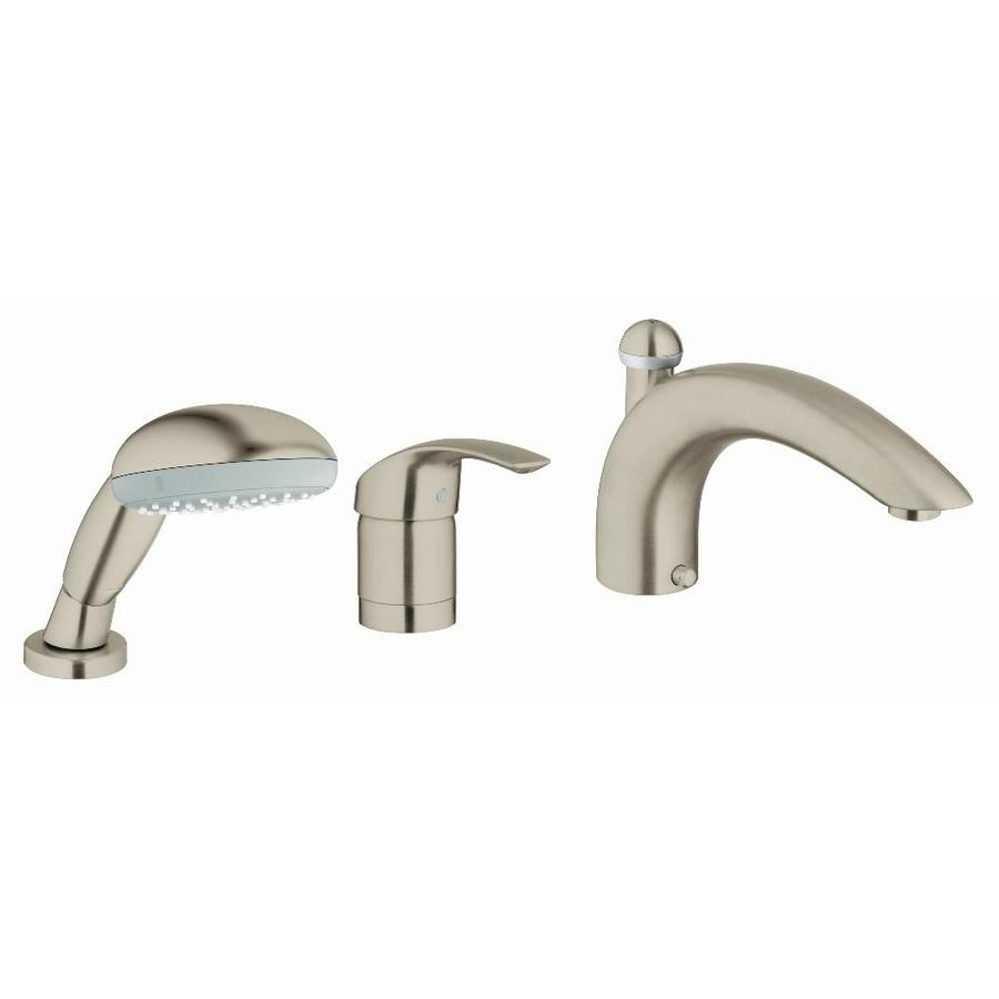 GROHE Eurosmart Nickel 1-Handle Adjustable Deck Mount Bathtub Faucet