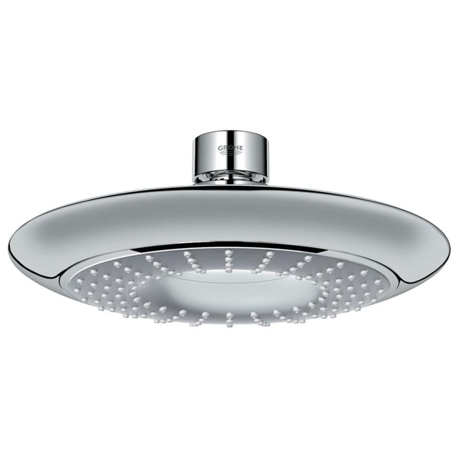 GROHE Rainshower 7.5-in 2.5-GPM (9.5-LPM) Starlight Chrome 1-Spray Rain Showerhead