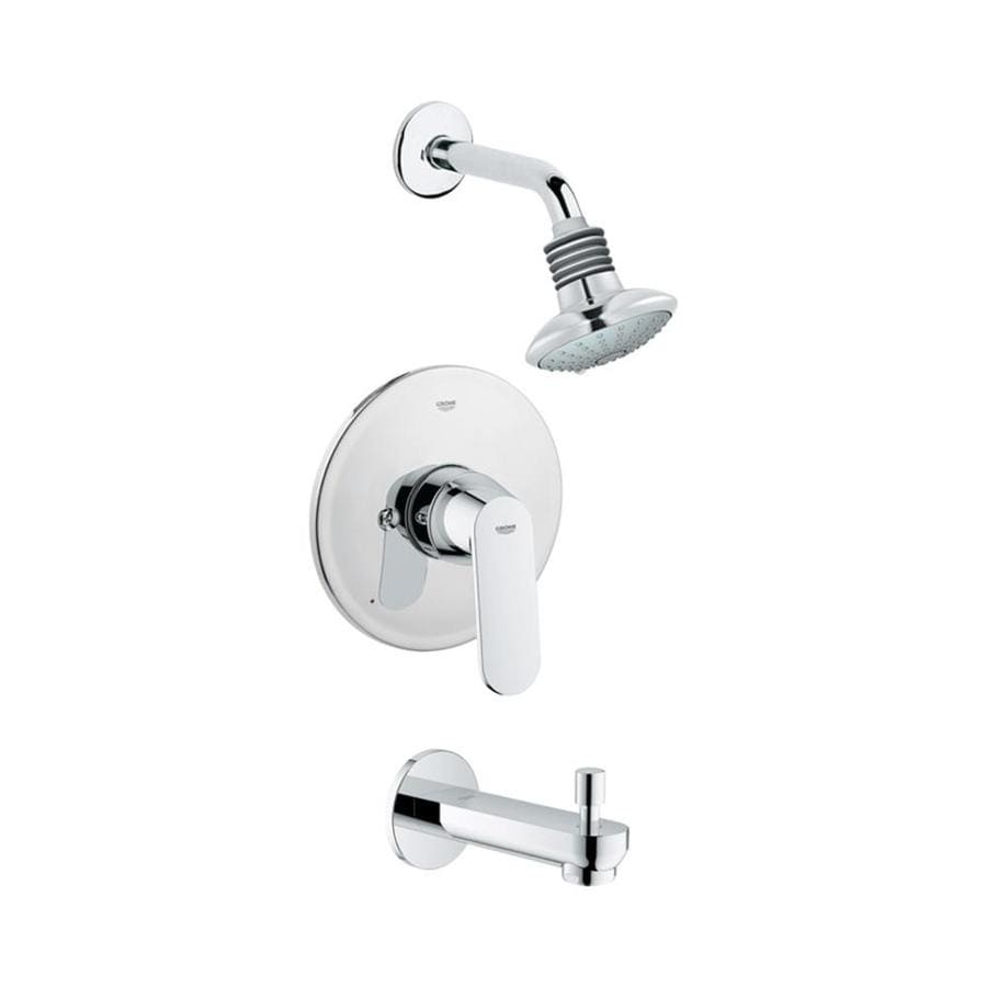 GROHE Eurosmart Starlight Chrome 1-Handle Bathtub and Shower Faucet Trim Kit with Multi-Function Showerhead
