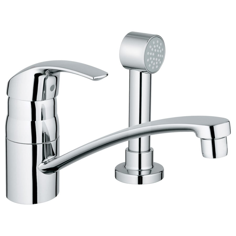 GROHE Eurosmart Starlight Chrome 1-Handle Low-Arc Kitchen Faucet with Side Spray