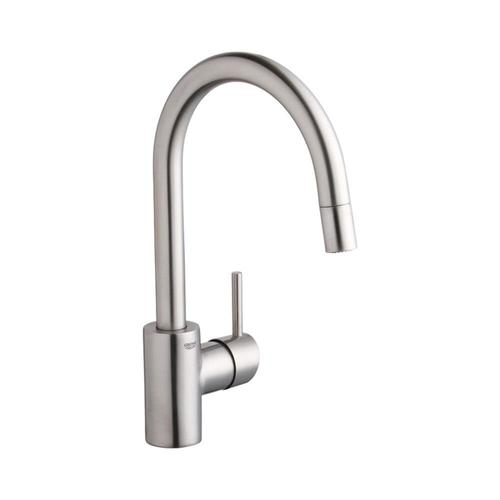 Grohe Concetto Supersteel Infinity 1 Handle Deck Mount Pull Down Residential Kitchen Faucet In The Kitchen Faucets Department At Lowes Com
