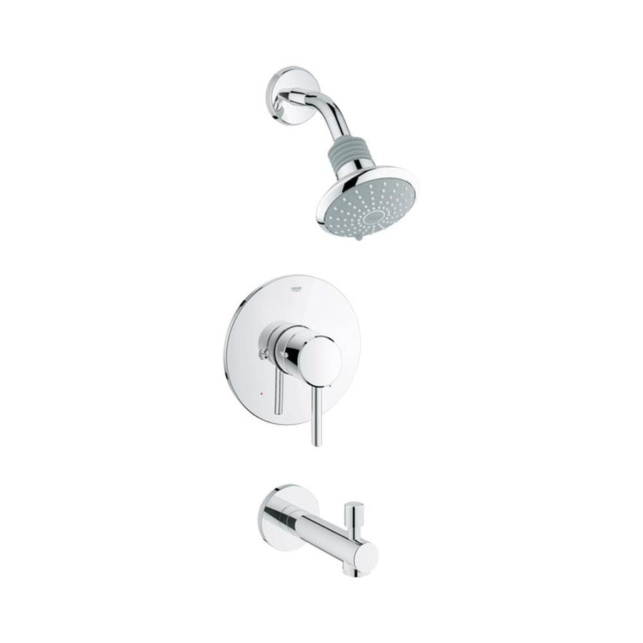 GROHE Concetto Starlight Chrome 1-Handle Bathtub and Shower Faucet Trim Kit with Single Function Showerhead
