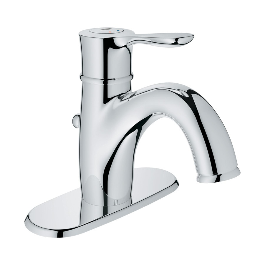 GROHE Parkfield Starlight Chrome 1-Handle Single Hole Bathroom Faucet (Drain Included)
