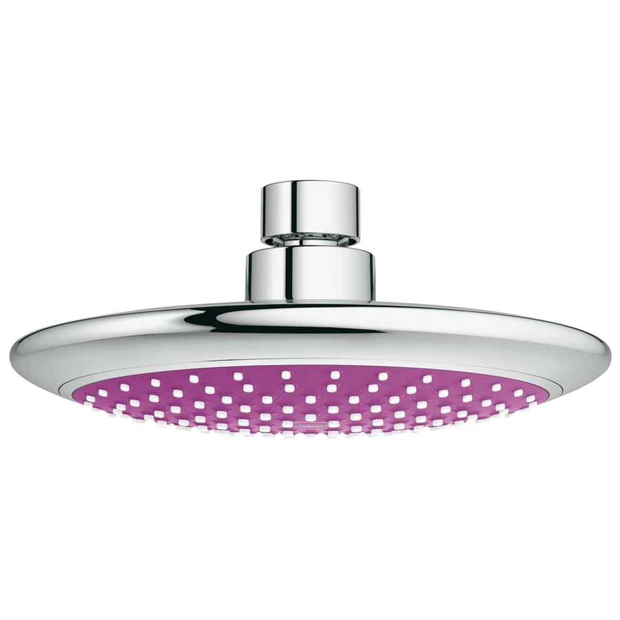 GROHE Solo 7.5-in 2.5-GPM (9.5-LPM) Purple/Chrome 1-Spray Showerhead