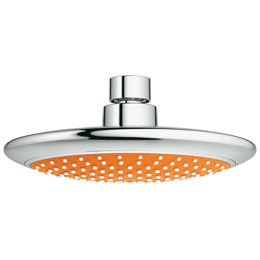GROHE Solo 7.5-in 2.5-GPM (9.5-LPM) Orange/Chrome 1-Spray Showerhead