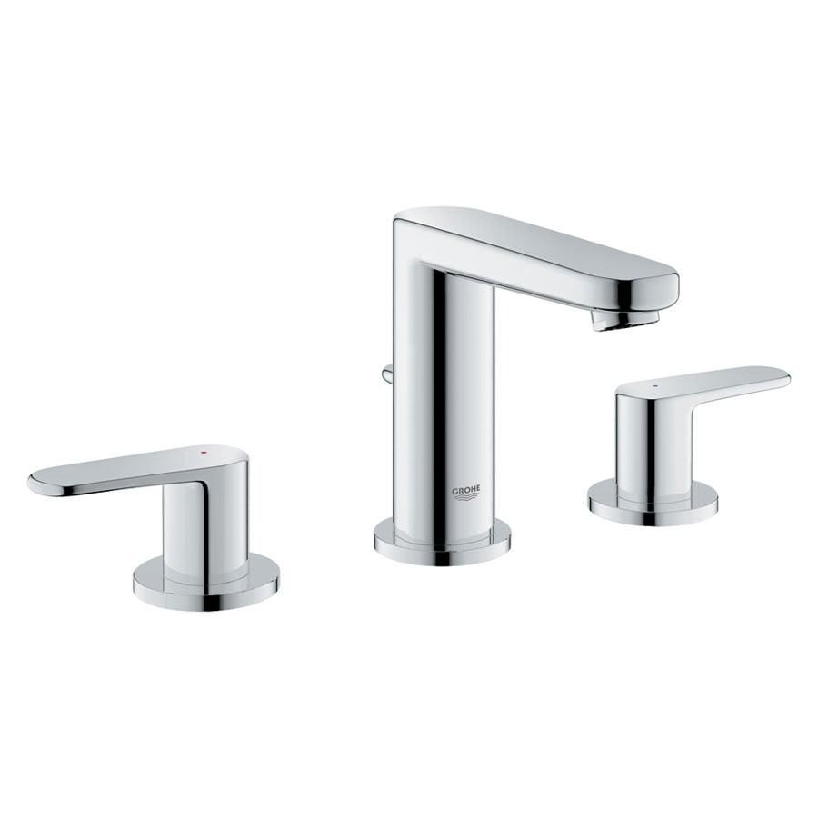 GROHE Europlus Starlight Chrome 2 Handle Widespread Bathroom Sink Faucet