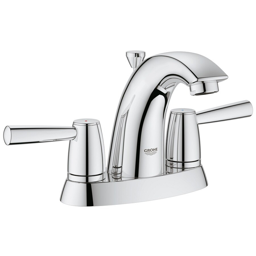 GROHE Arden Starlight Chrome 2-Handle 4-in Centerset WaterSense Bathroom Faucet (Drain Included)