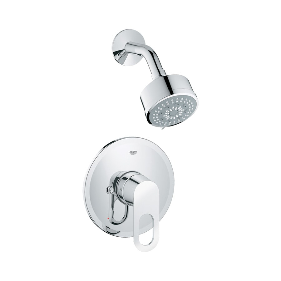 grohe starlight chrome 1handle shower faucet trim kit with showerhead