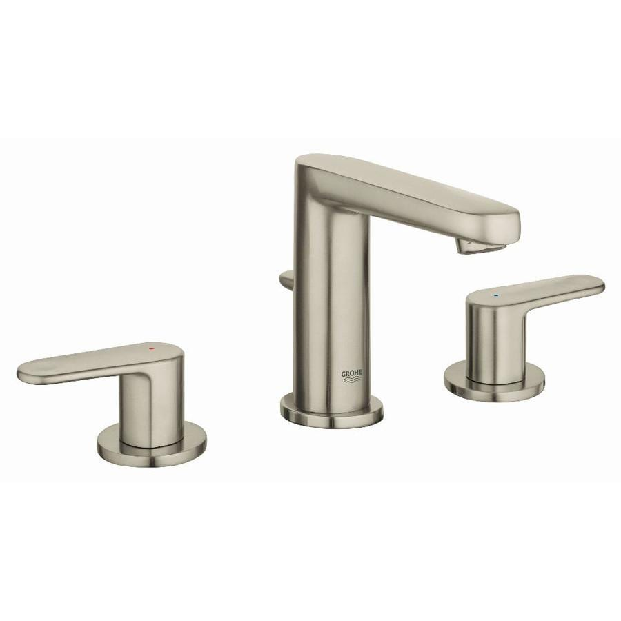 GROHE Europlus Brushed Nickel 2-Handle Widespread WaterSense Bathroom Faucet (Drain Included)
