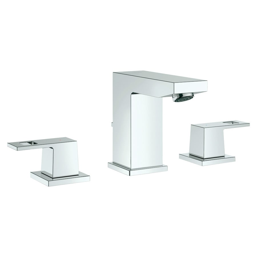 GROHE Eurocube StarLight Chrome 2-Handle Widespread WaterSense Bathroom Faucet (Drain Included)
