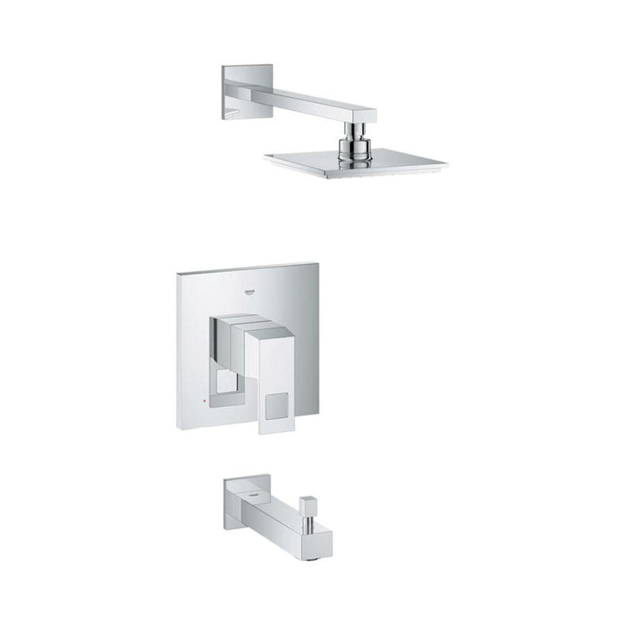 GROHE Eurocube Starlight Chrome 1-Handle Bathtub and Shower Faucet Trim Kit with Rain Showerhead